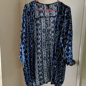 Blue turquoise ikat duster cover-up lt cardigan L